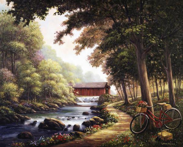 Covered Bridge Painting - The Covered Bridge by John Zaccheo