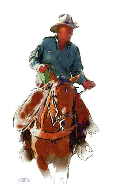 Southwest Digital Art - The Cowboy by Randy Follis