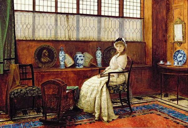 Baby Furniture Wall Art - Painting - The Cradle Song by John Atkinson Grimshaw