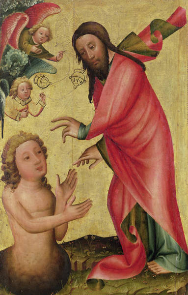 The Creation Of Adam Wall Art - Photograph - The Creation Of Adam, Detail From The Grabow Altarpiece, 1379-83 by Master Bertram of Minden