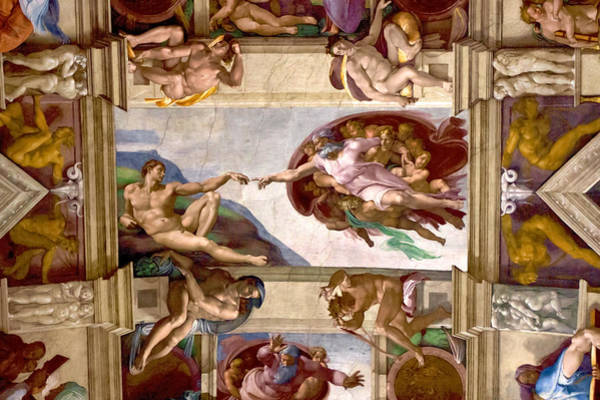 Sistine Chapel Wall Art - Photograph - The Creation Of Adam by Walt  Baker