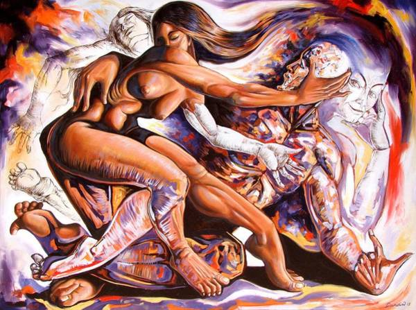 Wall Art - Painting - The Creation Of Desire by Darwin Leon