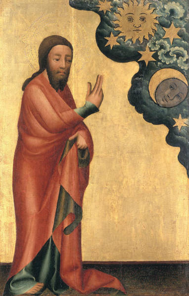 Genesis Photograph - The Creation Of The Sun, Moon And Stars, Detail From The Grabow Altarpiece, 1379-83 Tempera On Panel by Master Bertram of Minden