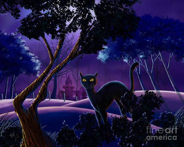 Purple Haze Digital Art - The Creepy Cat Of Ash Hills by Peter Awax