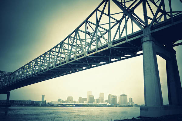 Louisiana Photograph - The Crescent City Connection In New by Moreiso