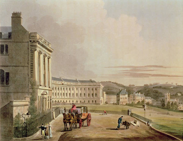 Jane Austen Wall Art - Drawing - The Crescent, Detail Of The Street by John Claude Nattes