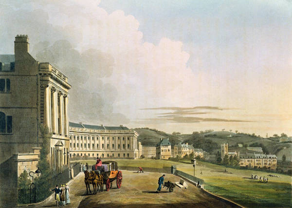 Wall Art - Drawing - The Crescent, From Bath Illustrated by John Claude Nattes