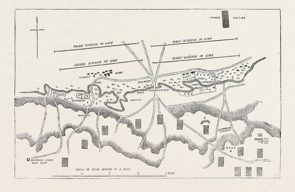 Wall Art - Drawing - The Crimean War Official Plan Of The Battle Of The Alma by English School