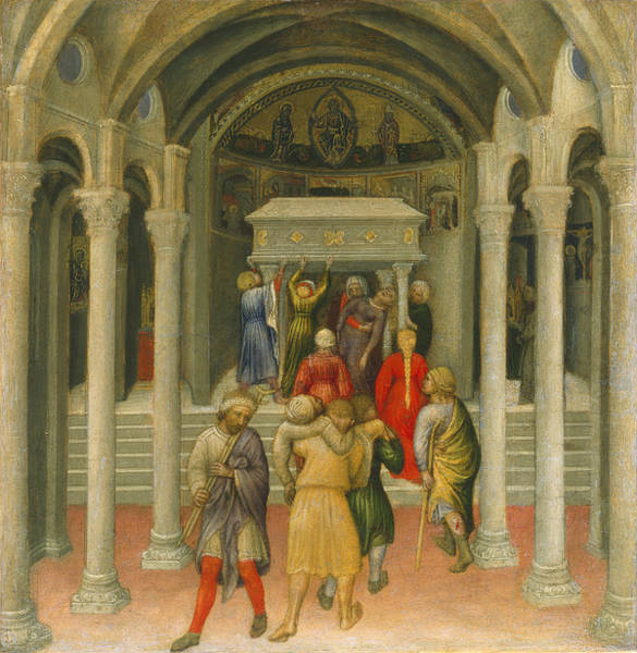 St Nicholas Painting - The Crippled And Sick Cured At The Tomb Of Saint Nicholas by Gentile da Fabriano