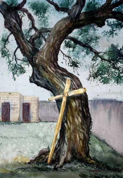 Painting -  Da216 The Cross And The Tree By Daniel Adams by Daniel Adams