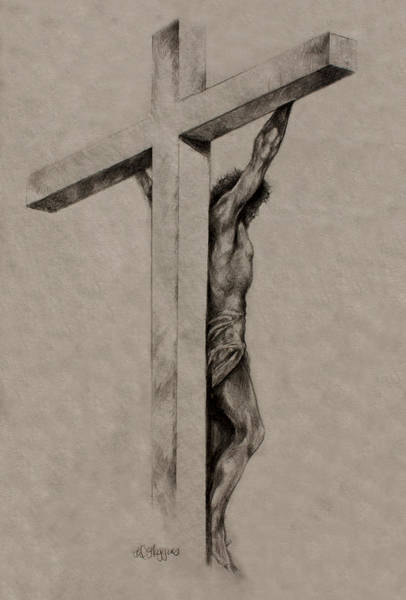 Suffering Drawing - The Cross by Derrick Higgins