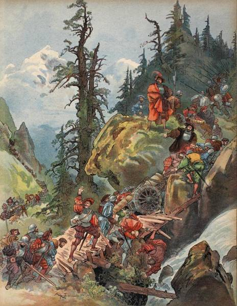 Soldier Drawing - The Crossing Of The Alps, Illustration by Albert Robida