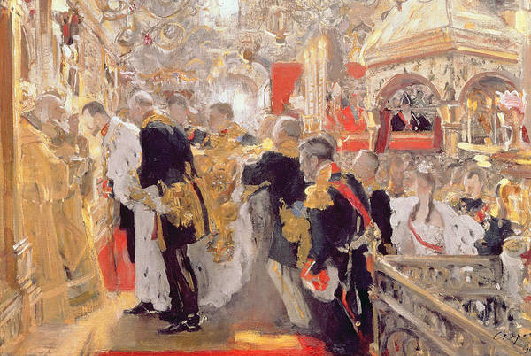 1896 Photograph - The Crowning Of Emperor Nicholas II 1868-1918 In The Assumption Cathedral, 1896 Oil On Canvas by Valentin Aleksandrovich Serov