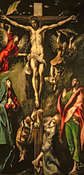 Mourning Painting - The Crucifixion by El Greco Domenico Theotocopuli