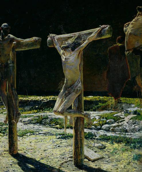 Golgotha Painting - The Crucifixion by Nikolai Nikolaevich Gay