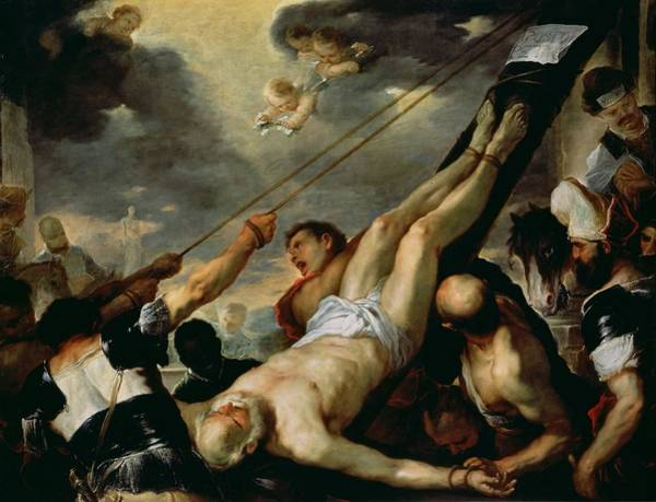 Wall Art - Photograph - The Crucifixion Of Saint Peter, C.1660 Oil On Canvas by Luca Giordano