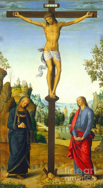 Church Of The Cross Painting - The Crucifixion With The Virgin Saint John Saint Jerome And Saint Mary Magdalene by Pietro Perugino