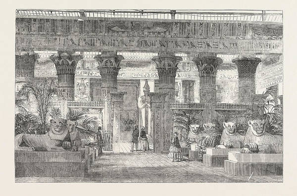 Wall Art - Drawing - The Crystal Palace Entrance To The Egyptian Court by Egyptian School