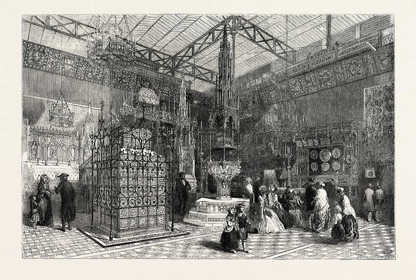 Royal Court Drawing - The Crystal Palace The Mediaeval Court, 1851 by English School