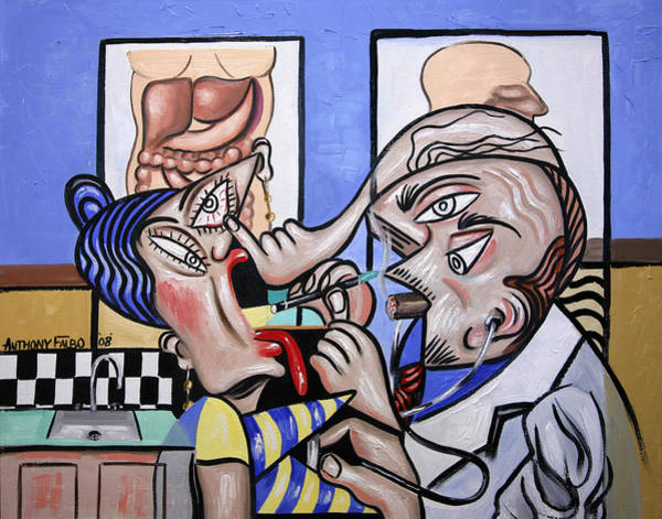 Painting - The Cubist Doctor Md by Anthony Falbo