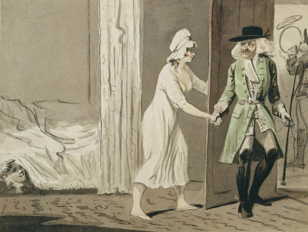 Having Sex Drawing - The Cuckold Departs For The Hunt by Isaac Cruikshank