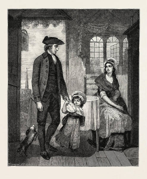 Duty Drawing - The Curate Of The Parish Returned From Duty, Engraving by English School