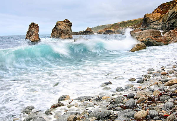 Sea Stacks Wall Art - Photograph - The Curl - Crashing Waves From Soberanes Point In Garrapata State Park by Jamie Pham