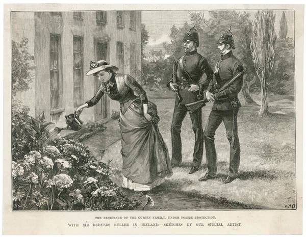 Wall Art - Drawing - The Curtin Family Under Armed  Guard by  Illustrated London News Ltd/Mar
