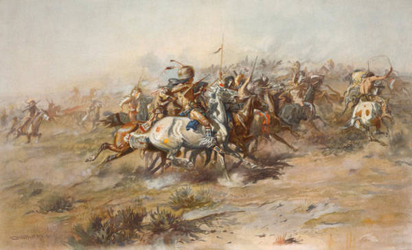 Wall Art - Painting - The Custer Fight  by War Is Hell Store