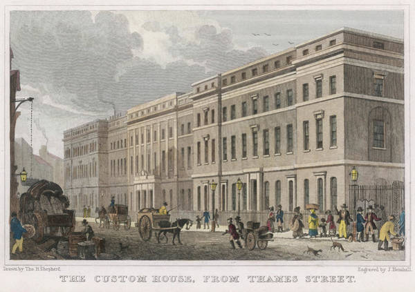 Wall Art - Drawing - The Custom House, London, Seen by Mary Evans Picture Library