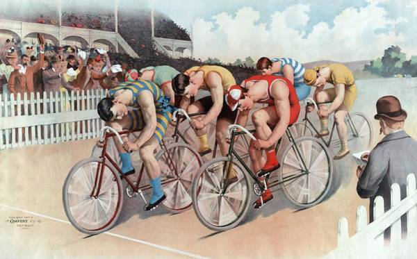 Wall Art - Painting - The Cycle Race by American School