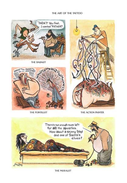 2003 Drawing - The Dadaist  The Pointillist  The Action by Arnold Roth