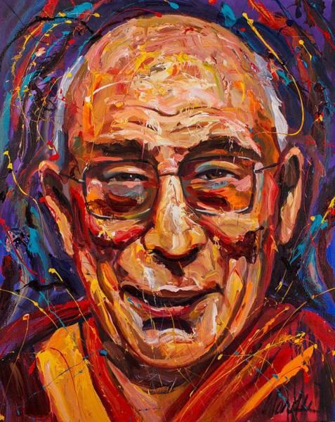 Dalai Lama Wall Art - Painting - The Dalai Lama by Michael Wardle