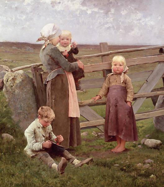 Family Farm Painting - The Dalby Gate by Hugo Salmson