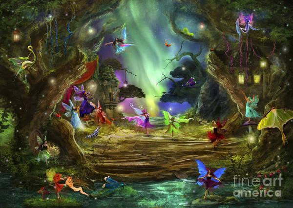 Woodland Digital Art - The Dancing Auroras by MGL Meiklejohn Graphics Licensing