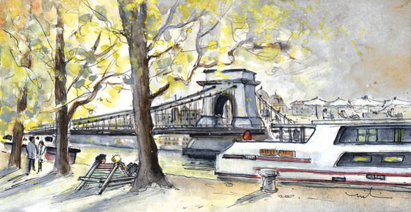 Painting - The Danube In Budapest 02 by Miki De Goodaboom