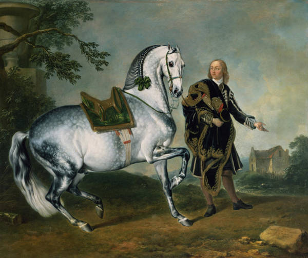 Brand Photograph - The Dappled Horse Scarramuie En Piaffe by J.G. Hamilton