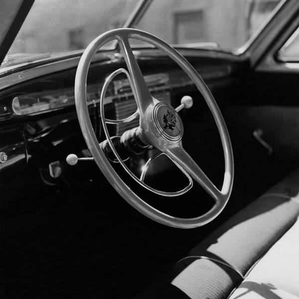 Wheel Photograph - The Dashboard Of A Frazer Sedan by Constantin Joffe