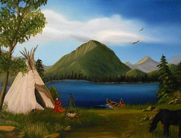 Indian Camp Painting - Dawn Of Tohidu by Sheri Keith