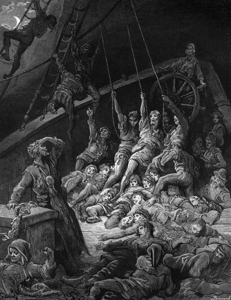Miracle Drawing - The Dead Sailors Rise Up And Start To Work The Ropes Of The Ship So That It Begins To Move by Gustave Dore