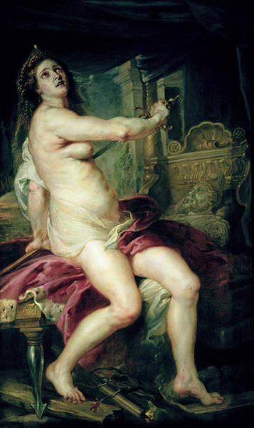Suicide Painting - The Death Of Dido by Rubens