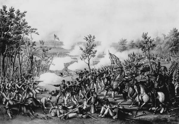 Union Soldier Photograph - The Death Of General James B. Mcpherson At The Battle Of Atlanta, July 22nd, 1864, Pub. By Kurz & by American School