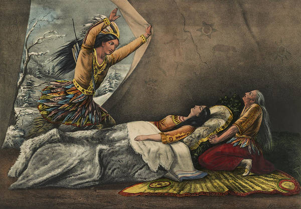 Indigenous Wall Art - Painting - The Death Of Minnehaha Circa 1867 by Aged Pixel
