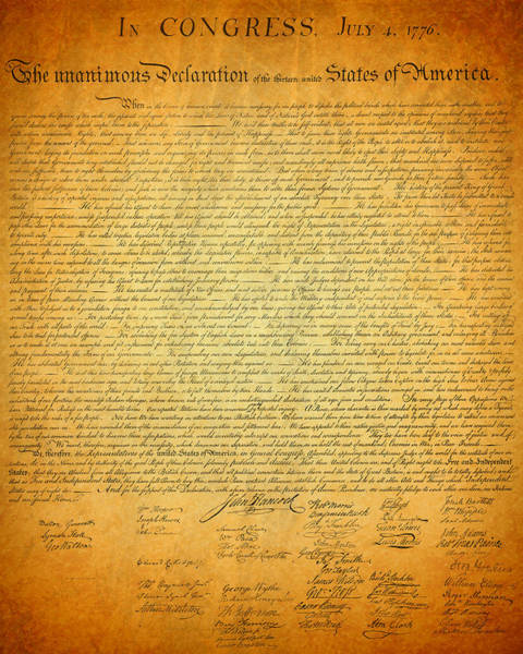 Artifacts Wall Art - Mixed Media - The Declaration Of Independence - America's Founding Document by Design Turnpike