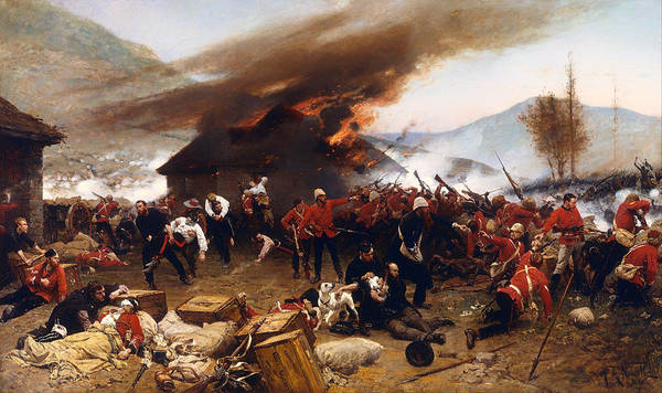 Wounded Soldier Painting - The Defence Of Rorke's Drift 1879 by Mountain Dreams