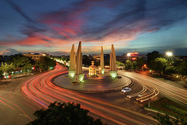 Democracy Photograph - The Democracy Monument In Bangkok by Nanut Bovorn