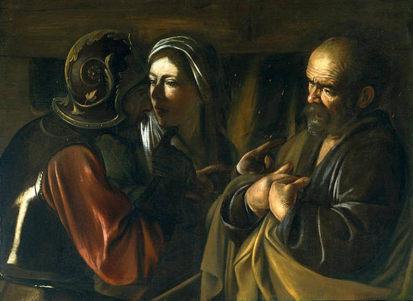 Denial Painting - The Denial Of Saint Peter by Caravaggio