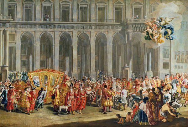Procession Photograph - The Departure Of Alois Thomas Von Harrach, Viceroy Of Naples 1669-1742 From The Palazzo Reale Di by Nicolo Maria Russo or Rossi