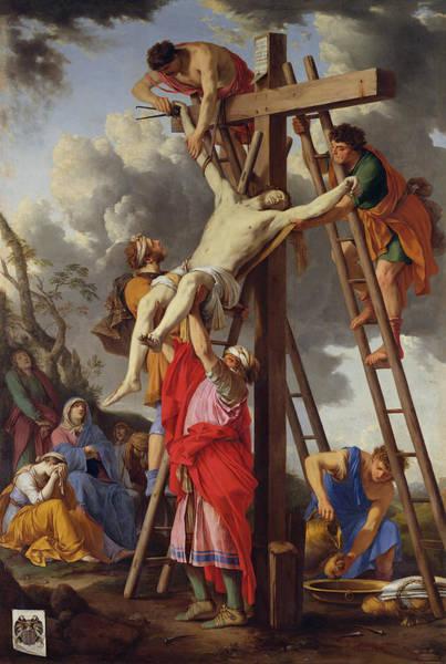 Crucifixion Of Jesus Photograph - The Deposition, 1655 Oil On Canvas by Laurent de La Hyre