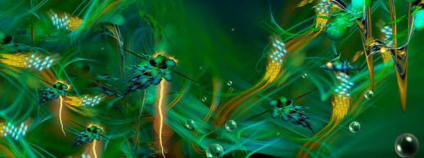 Fractal Landscape Digital Art - The Depths... Extended Electric Version by Phil Sadler